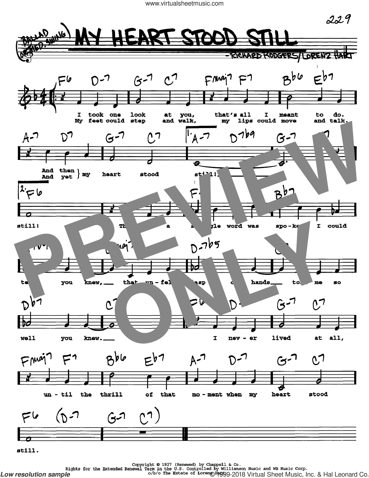 My Heart Stood Still sheet music for voice and other instruments (Vocal Volume 2) by Richard Rodgers, Rodgers & Hart and Lorenz Hart. Score Image Preview.