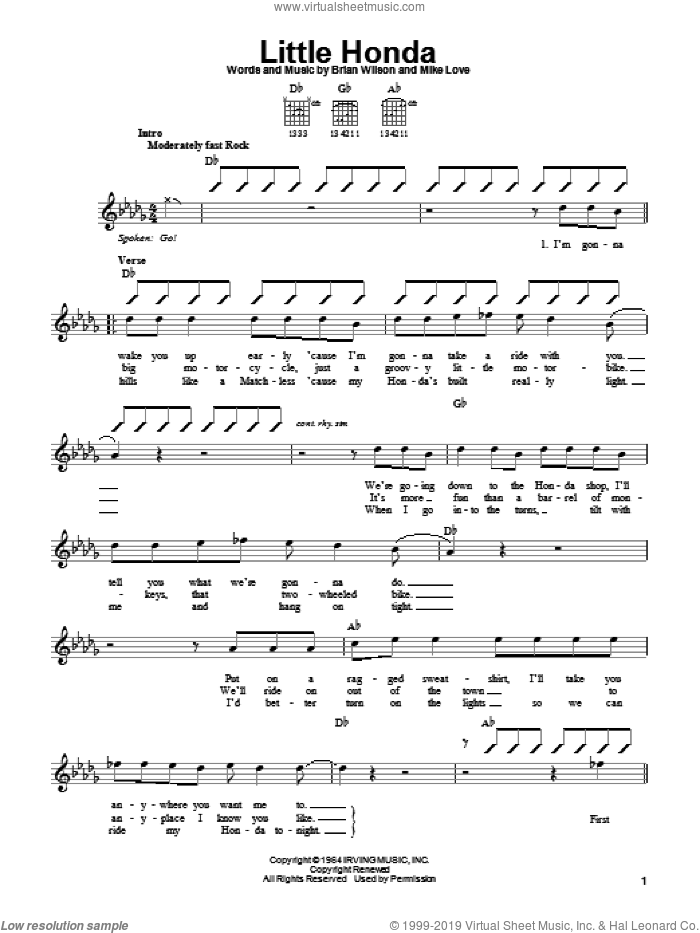 Little Honda sheet music for guitar solo (chords) by The Beach Boys, Brian Wilson and Mike Love, easy guitar (chords)