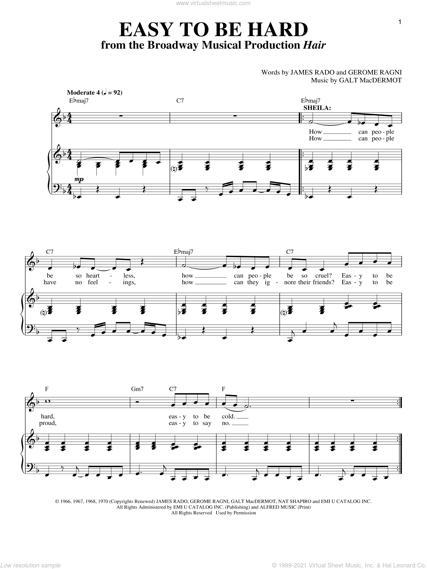 Easy To Be Hard sheet music for voice and piano by Galt MacDermot, Gerome Ragni and James Rado, intermediate