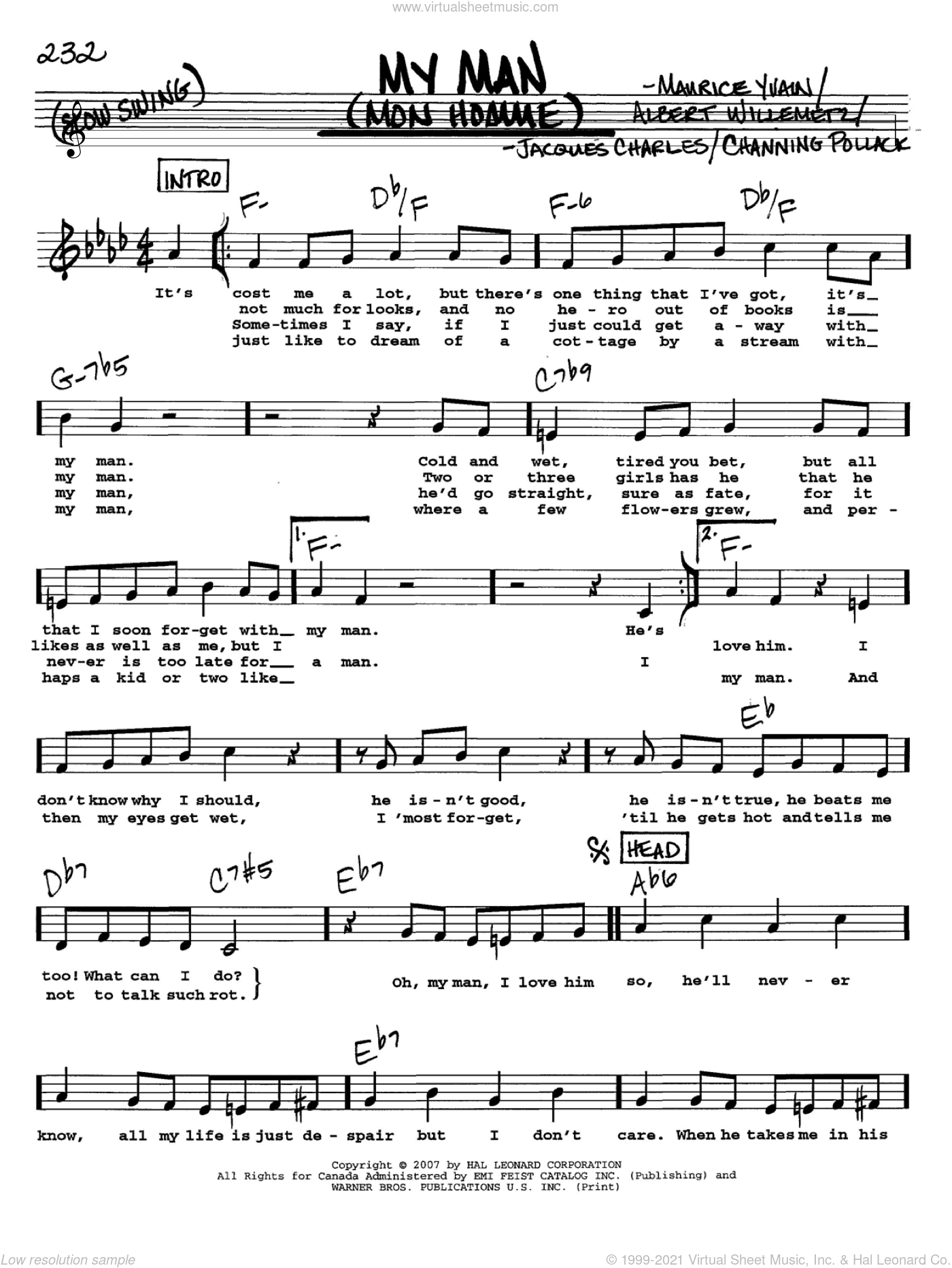 My Man (Mon Homme) sheet music for voice and other instruments (Vocal Volume 2) by Maurice Yvain, Albert Willemetz, Channing Pollock and Jacques Charles. Score Image Preview.