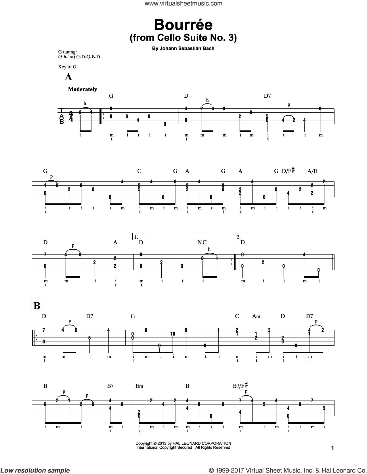 Cello Suite No. 3, BWV 1009 'Bourree I' sheet music for banjo solo by Johann Sebastian Bach and Mark Phillips, classical score, intermediate skill level