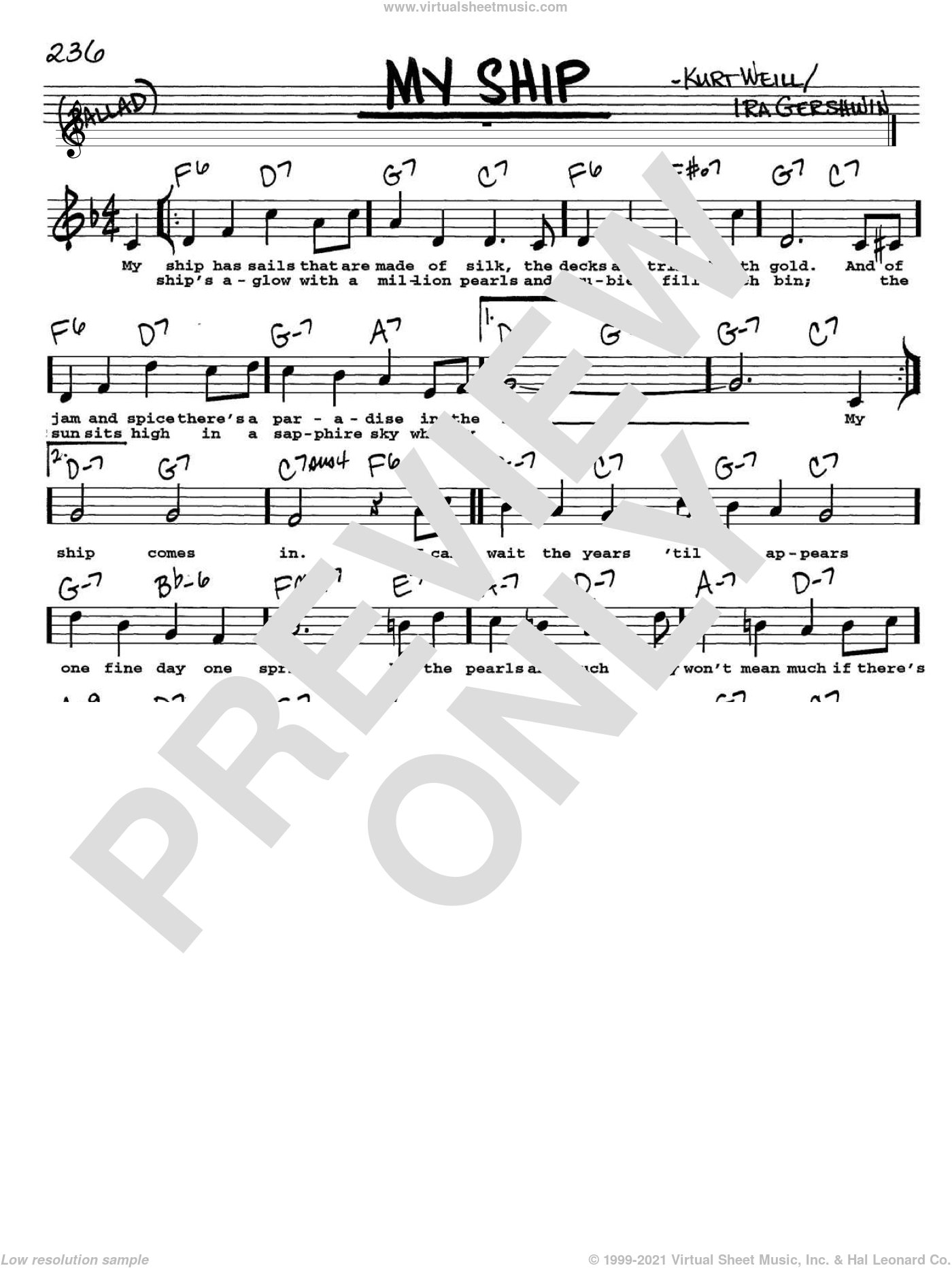 My Ship sheet music for voice and other instruments (Vocal Volume 2) by Kurt Weill and Ira Gershwin, intermediate voice. Score Image Preview.