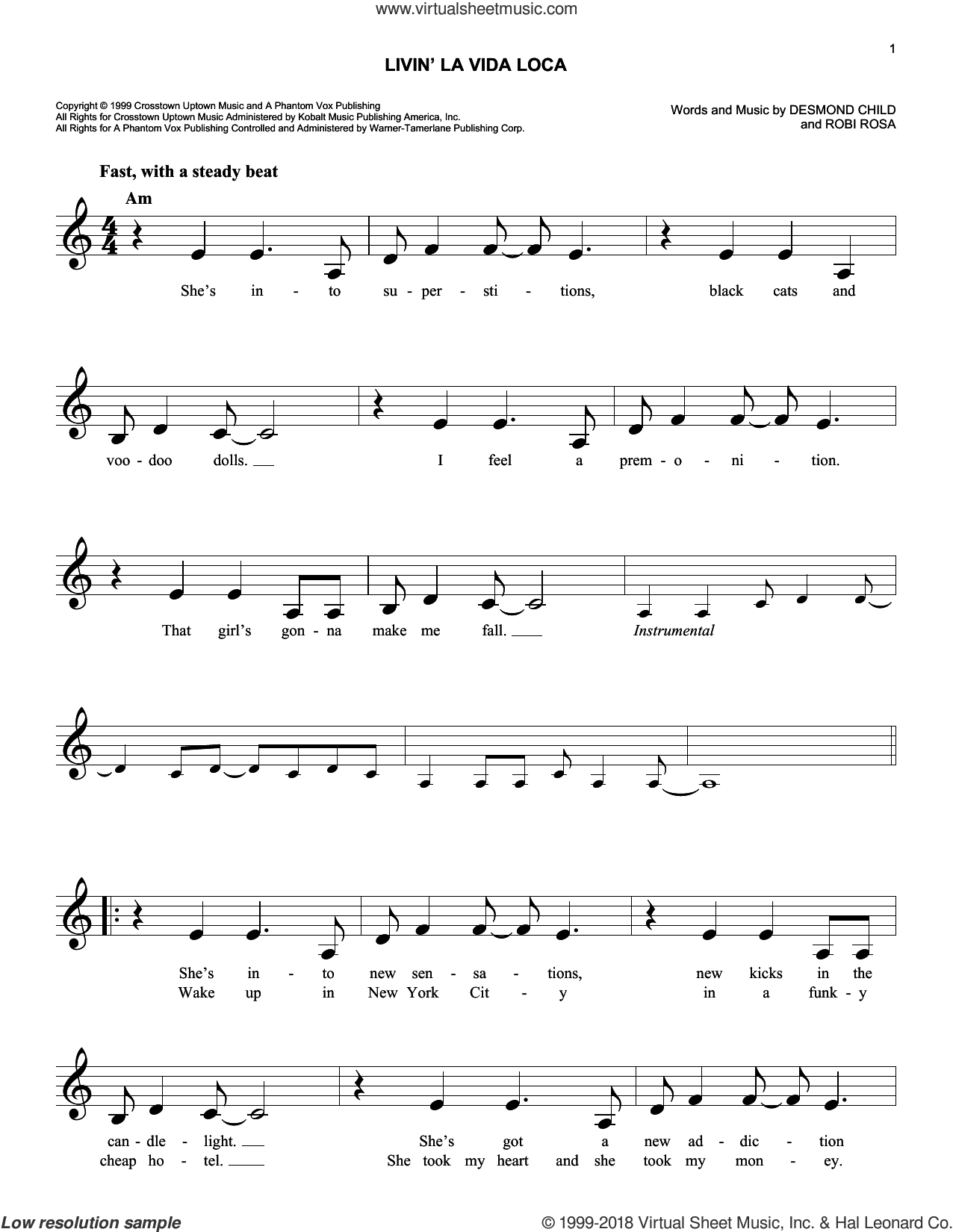 Livin' La Vida Loca sheet music for voice and other instruments (fake book) by Ricky Martin, Desmond Child and Robi Rosa, intermediate skill level