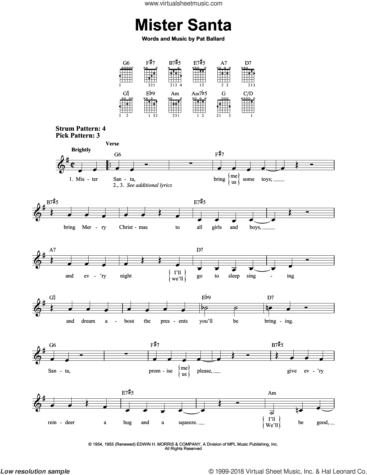 Mister Santa sheet music for guitar solo (chords) by Pat Ballard, easy guitar (chords)