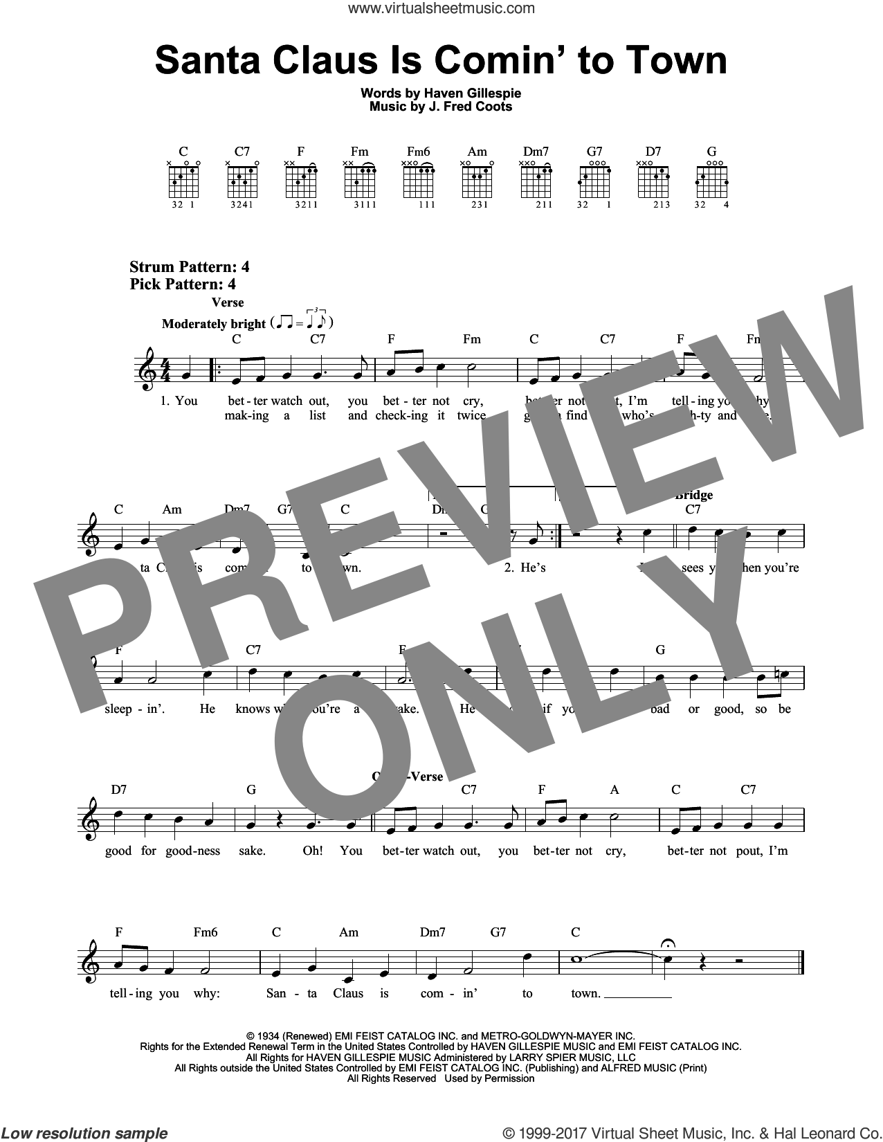 Santa Claus Is Comin' To Town sheet music for guitar solo (chords) by J. Fred Coots and Haven Gillespie. Score Image Preview.