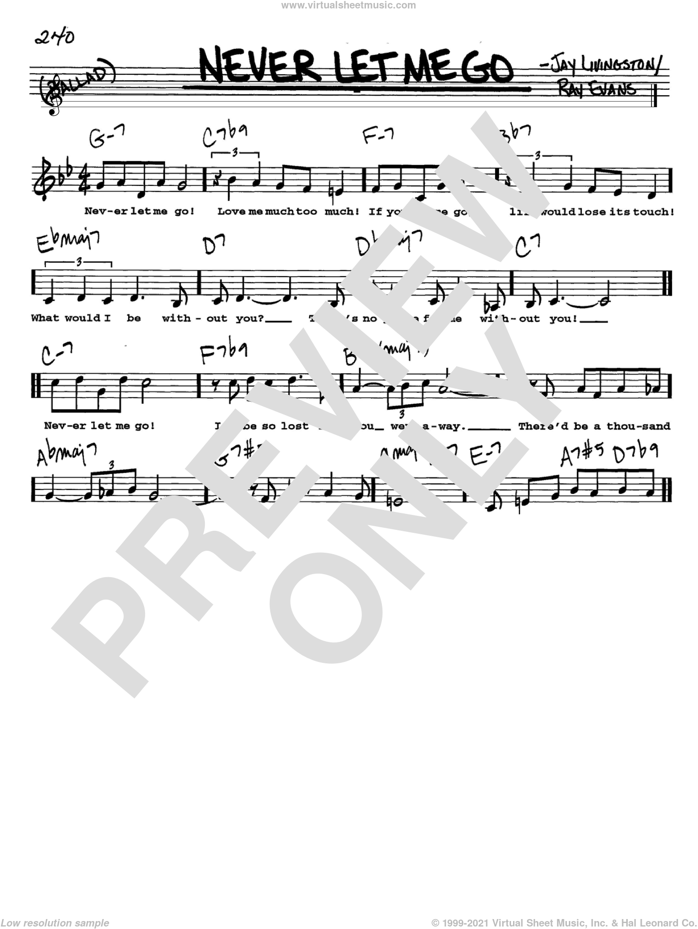 Never Let Me Go sheet music for voice and other instruments (Vocal Volume 2) by Ray Evans and Jay Livingston. Score Image Preview.
