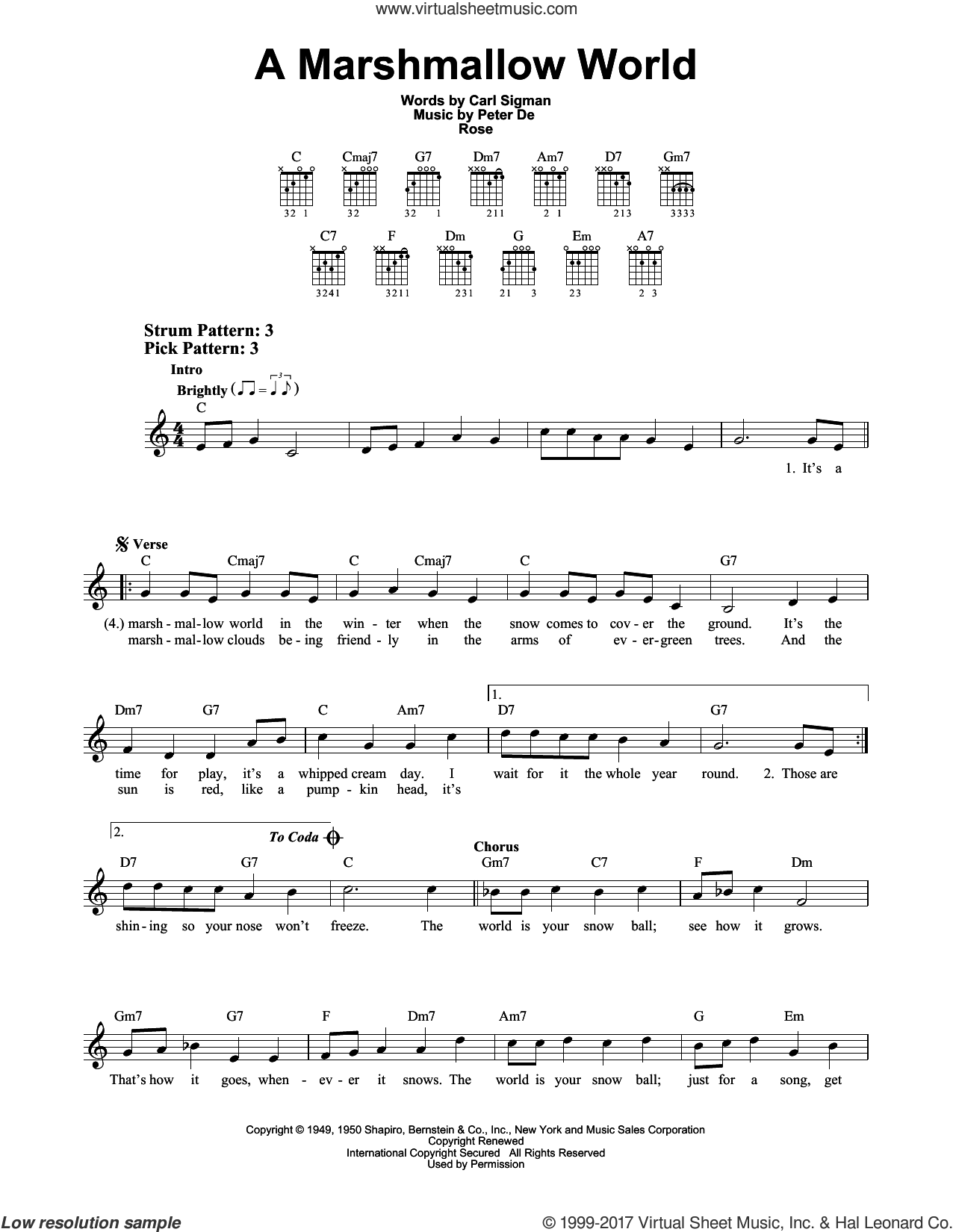 A Marshmallow World sheet music for guitar solo (chords) by Carl Sigman and Peter DeRose. Score Image Preview.