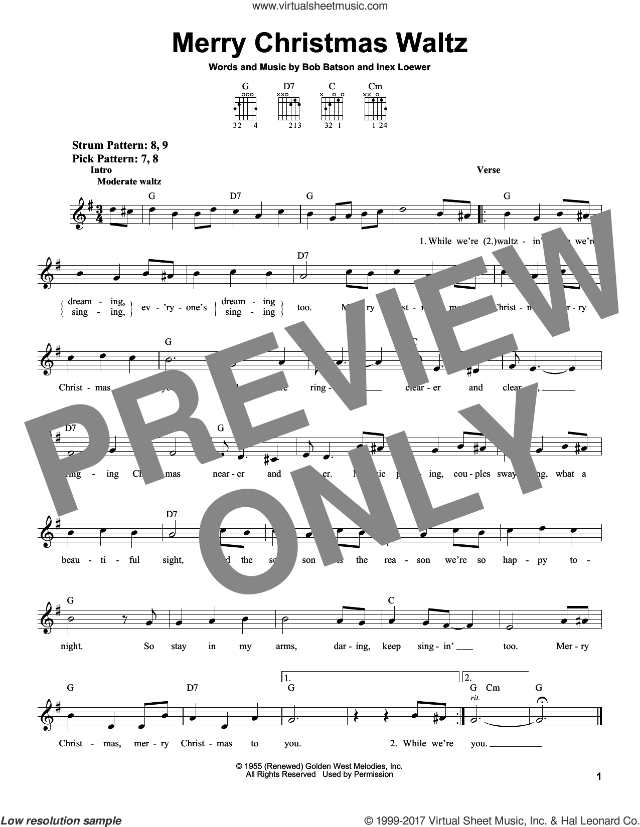 Merry Christmas Waltz sheet music for guitar solo (chords) by Inez Loewer and Bob Batson, easy guitar (chords). Score Image Preview.