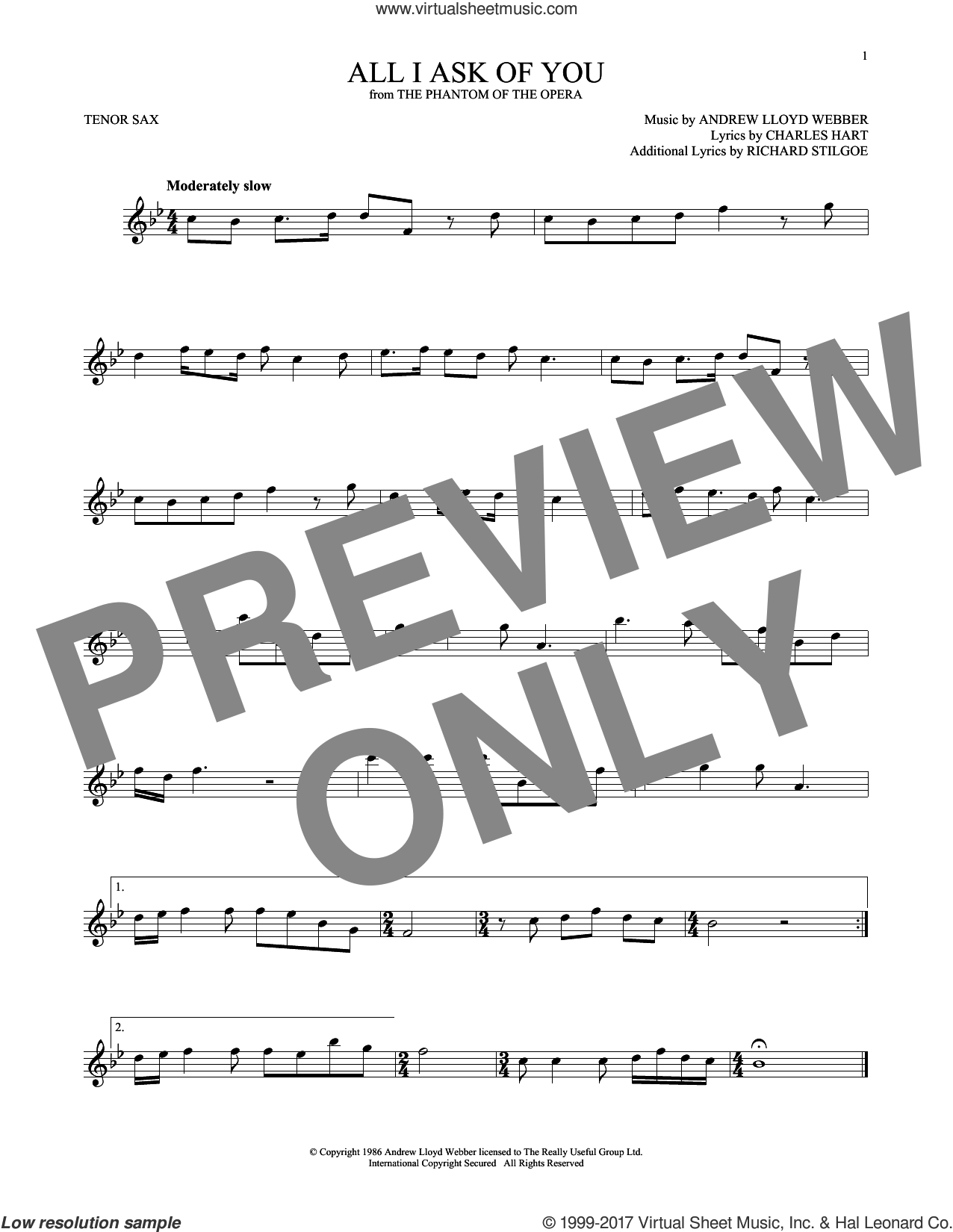 All I Ask Of You sheet music for tenor saxophone solo by Barbra Streisand and Andrew Lloyd Webber. Score Image Preview.