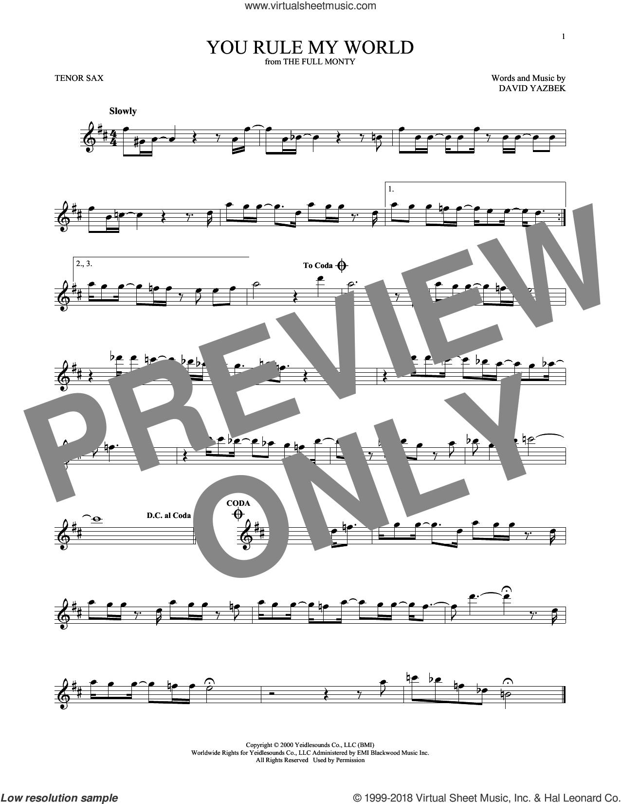 You Rule My World sheet music for tenor saxophone solo by David Yazbek, intermediate skill level
