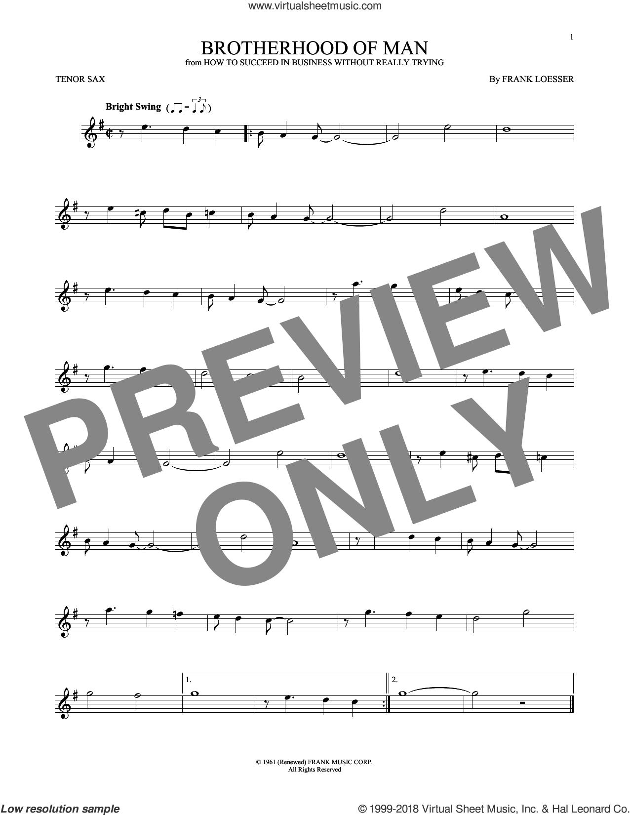 Brotherhood Of Man sheet music for tenor saxophone solo by Frank Loesser, intermediate skill level