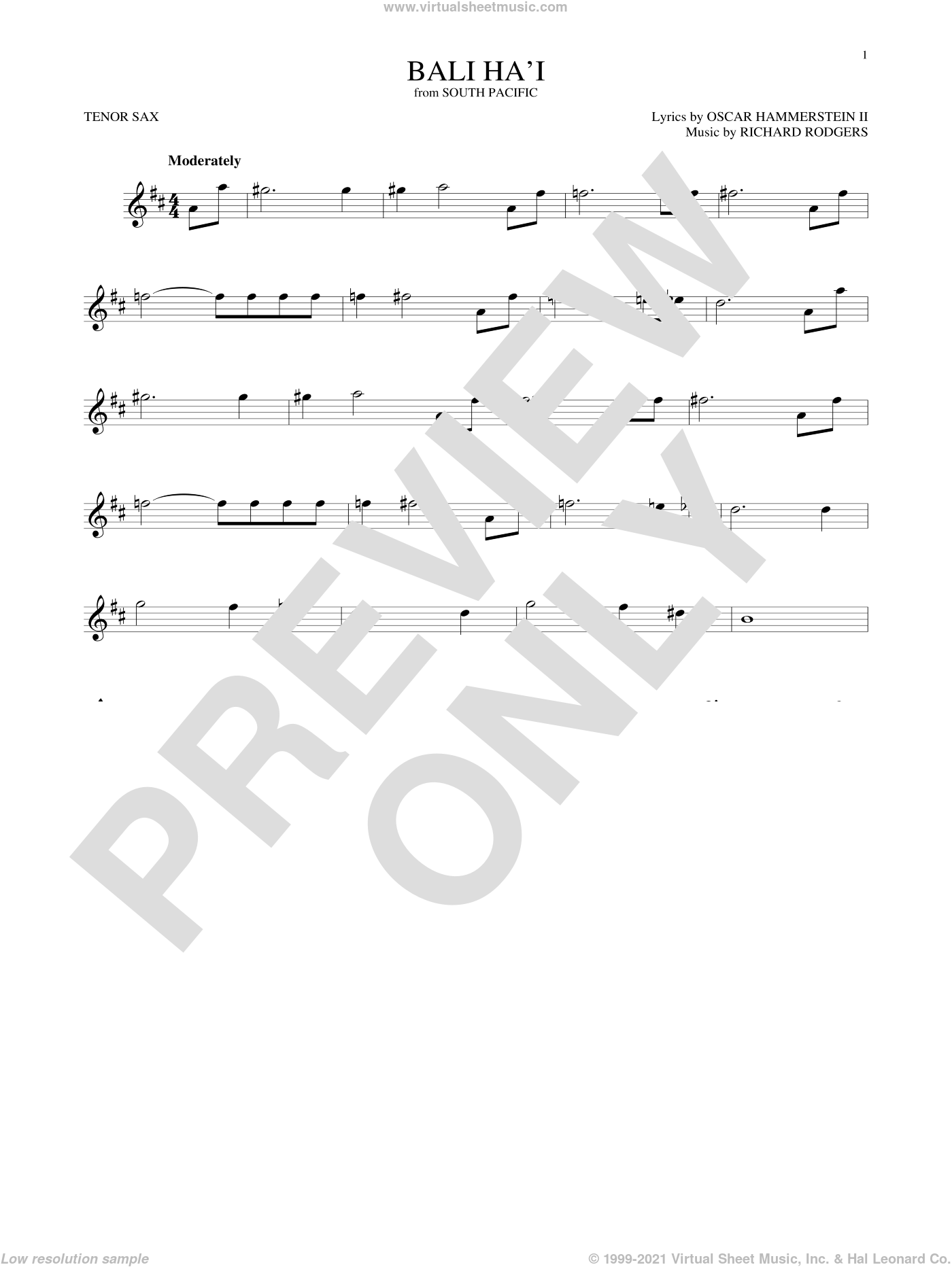 Bali Ha'i sheet music for tenor saxophone solo by Rodgers & Hammerstein, Oscar II Hammerstein and Richard Rodgers, intermediate. Score Image Preview.