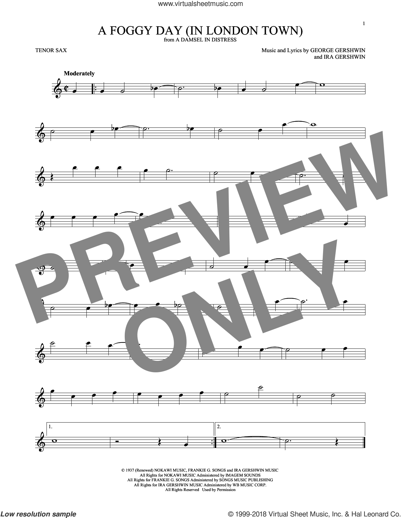 A Foggy Day (In London Town) sheet music for tenor saxophone solo by George Gershwin and Ira Gershwin, intermediate skill level