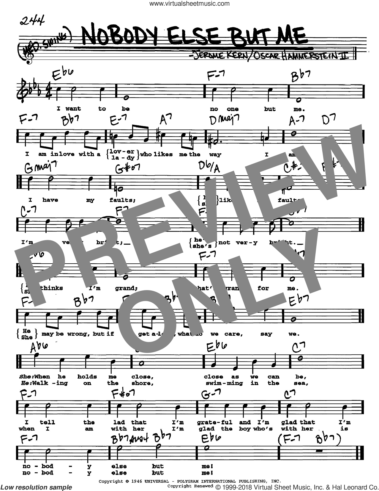 Nobody Else But Me sheet music for voice and other instruments (Vocal Volume 2) by Jerome Kern and Oscar II Hammerstein. Score Image Preview.