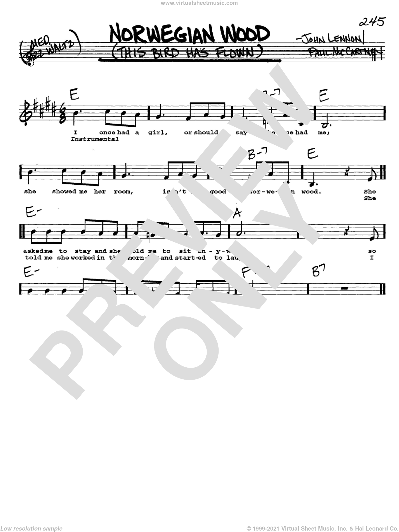 Norwegian Wood (This Bird Has Flown) sheet music for voice and other instruments  by The Beatles, John Lennon and Paul McCartney, intermediate skill level