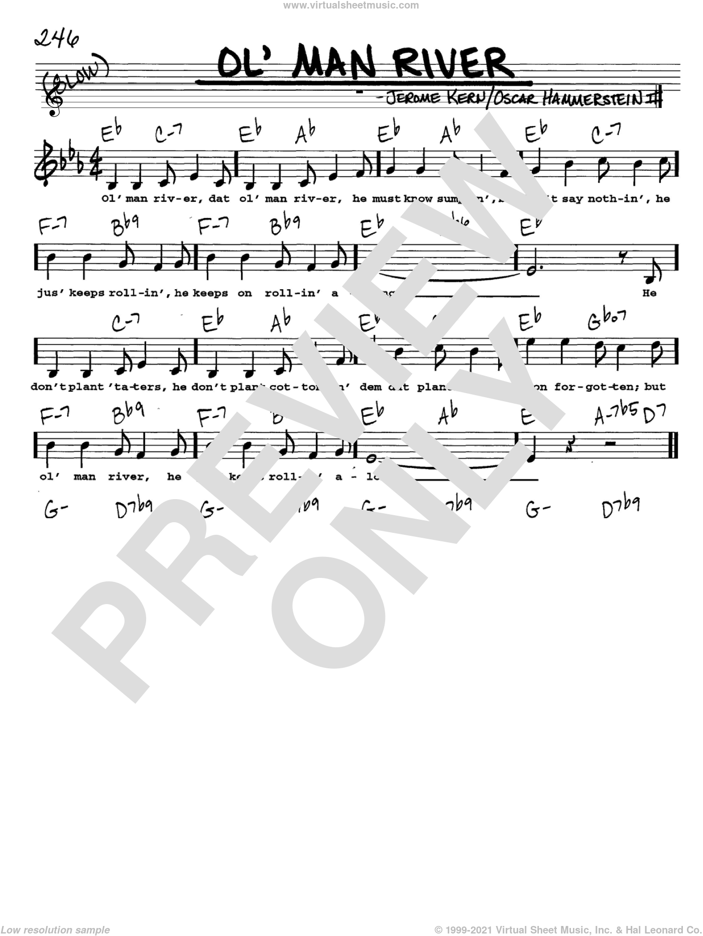 Ol' Man River sheet music for voice and other instruments  by Jerome Kern, Show Boat (Musical) and Oscar II Hammerstein, intermediate skill level