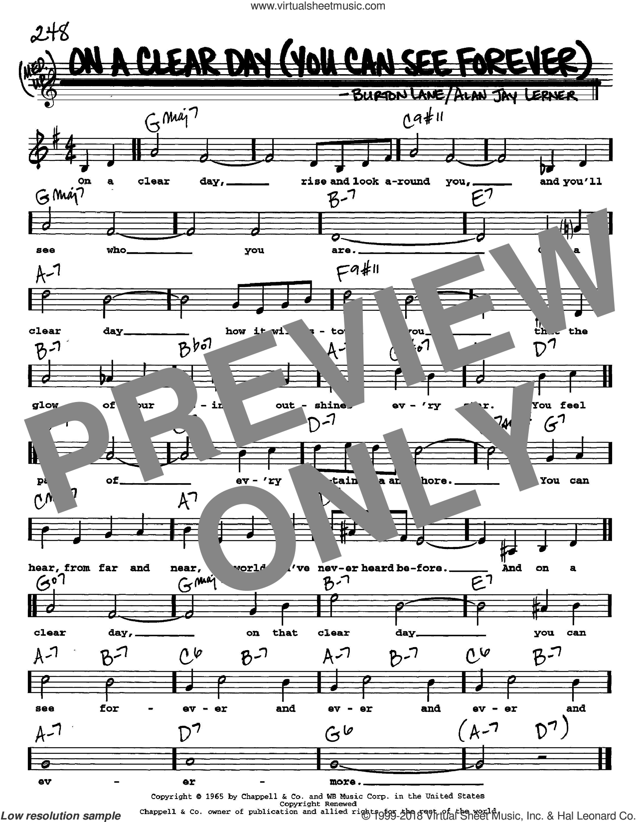On A Clear Day (You Can See Forever) sheet music for voice and other instruments  by Alan Jay Lerner and Burton Lane, intermediate. Score Image Preview.