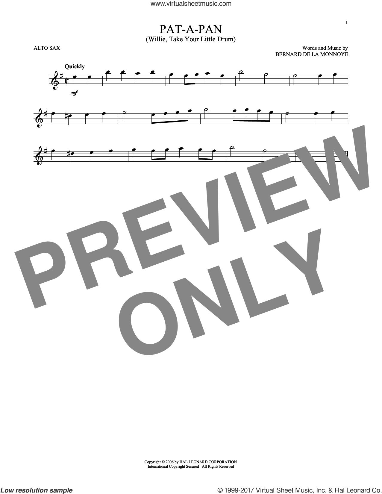 Pat-A-Pan (Willie, Take Your Little Drum) sheet music for alto saxophone solo by Bernard de la Monnoye, intermediate skill level