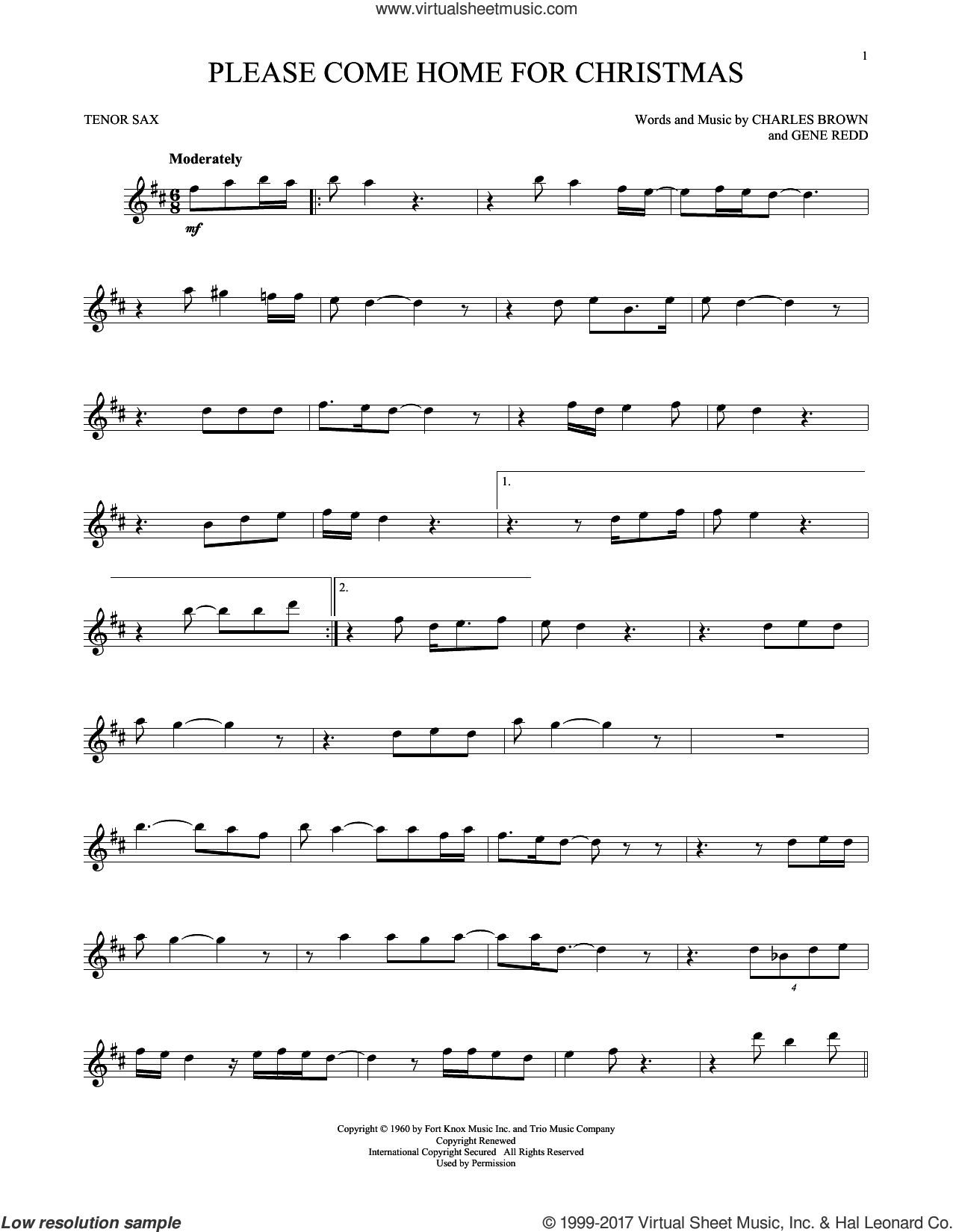 Please Come Home For Christmas sheet music for tenor saxophone solo by Charles Brown and Gene Redd, intermediate. Score Image Preview.