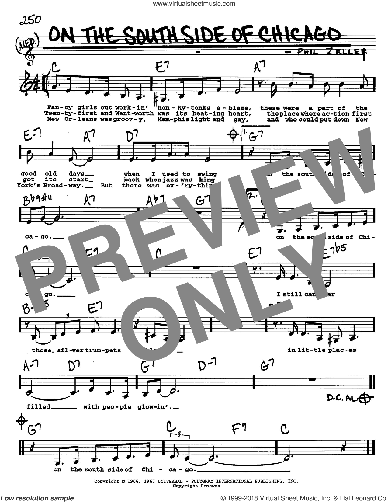 On The South Side Of Chicago sheet music for voice and other instruments (Vocal Volume 2) by Phil Zeller. Score Image Preview.