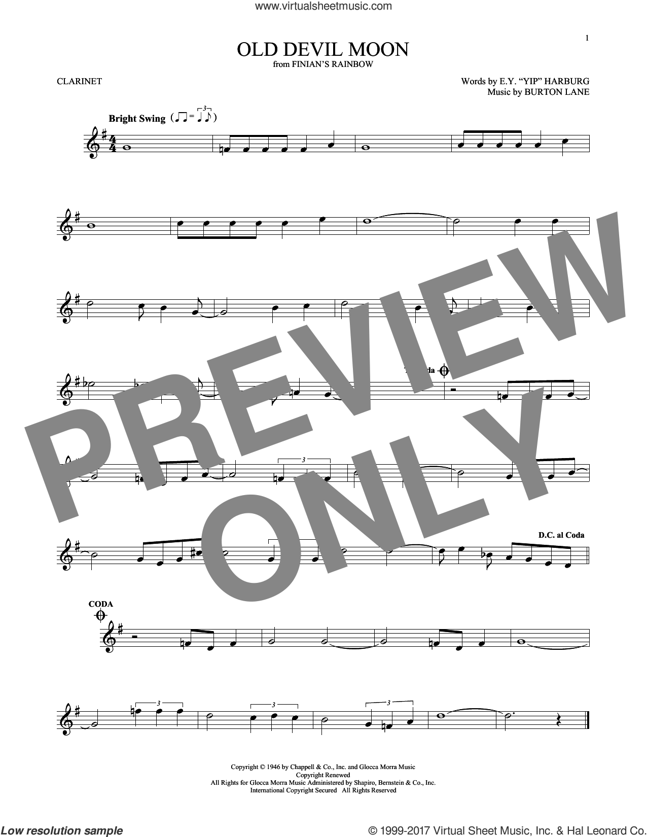 Old Devil Moon sheet music for clarinet solo by Frank Sinatra, Burton Lane and E.Y. Harburg, intermediate skill level
