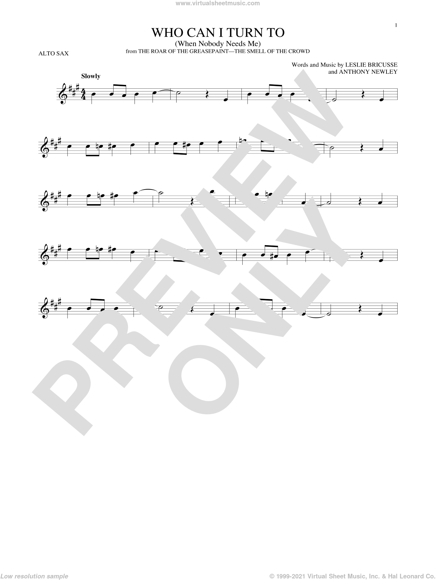 Who Can I Turn To (When Nobody Needs Me) sheet music for alto saxophone solo by Anthony Newley and Leslie Bricusse, intermediate. Score Image Preview.