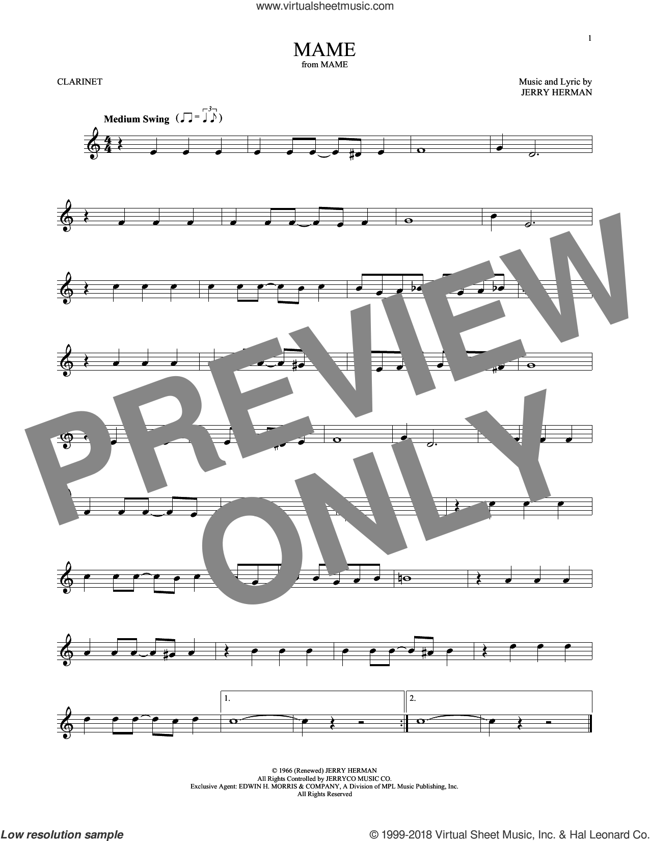 Mame sheet music for clarinet solo by Jerry Herman, intermediate skill level