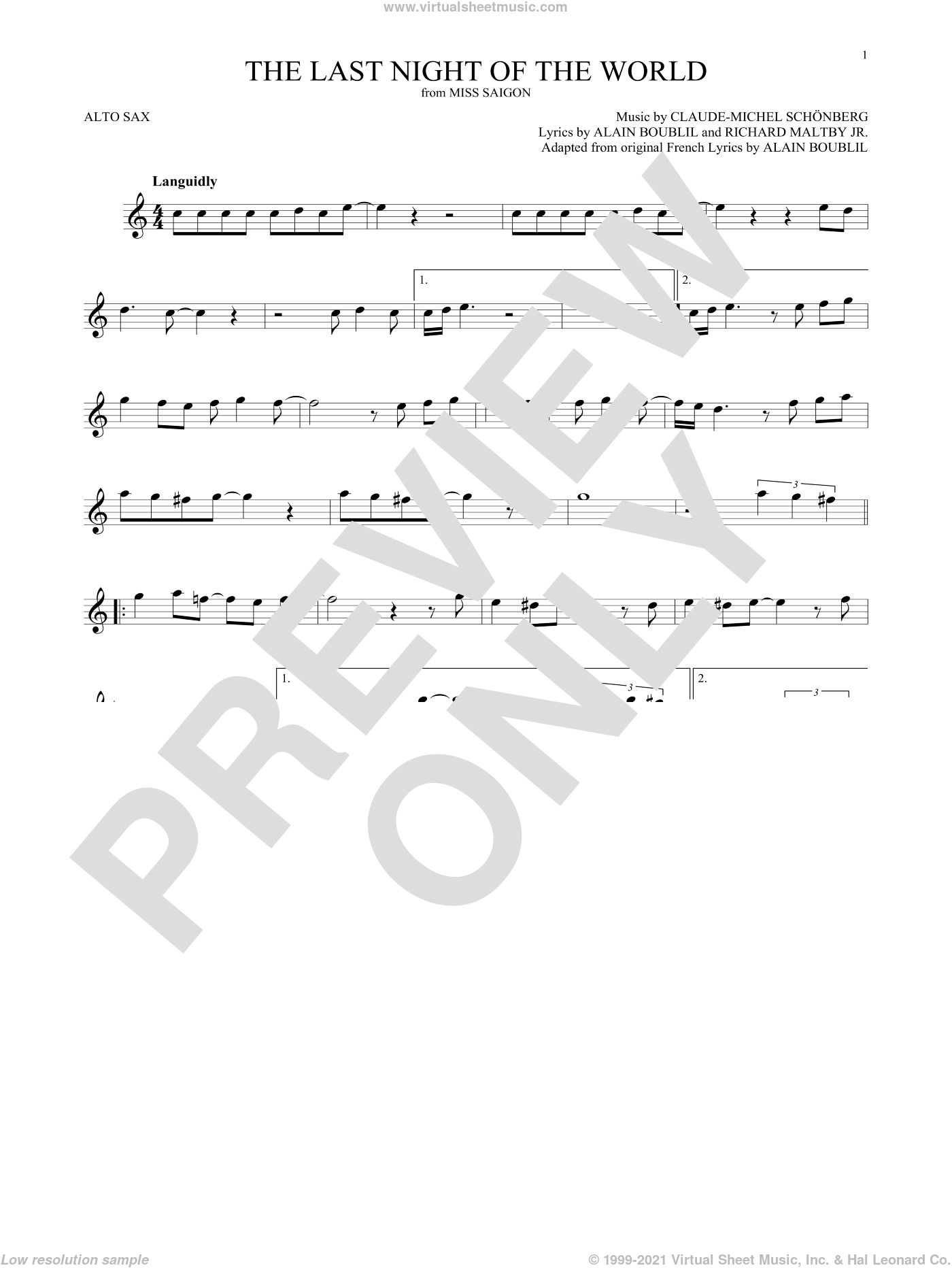 The Last Night Of The World (from Miss Saigon) sheet music for alto saxophone solo by Alain Boublil, Boublil and Schonberg, Claude-Michel Schonberg, Claude-Michel Schonberg and Richard Maltby, Jr., intermediate skill level