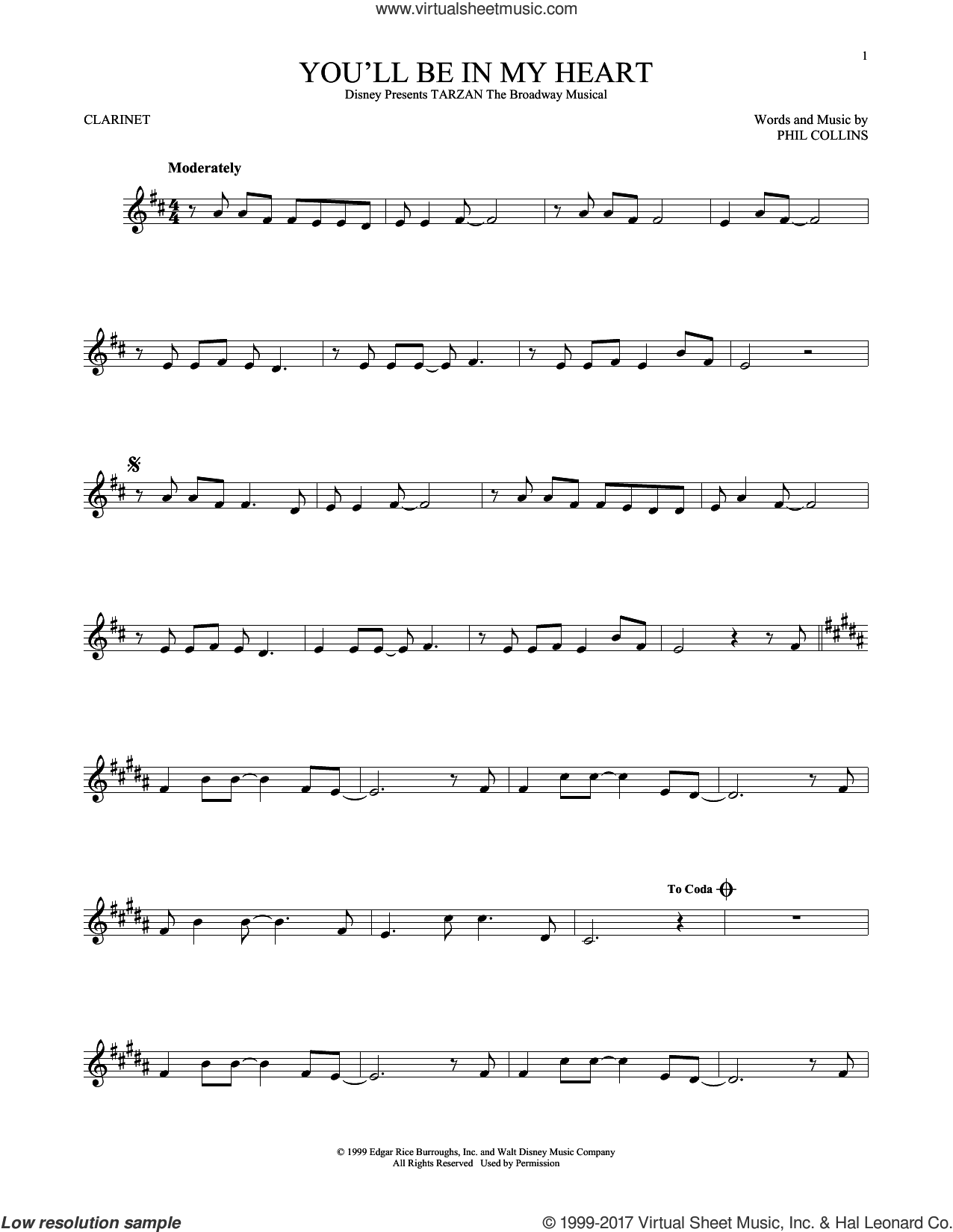 You'll Be In My Heart sheet music for clarinet solo by Phil Collins, intermediate skill level