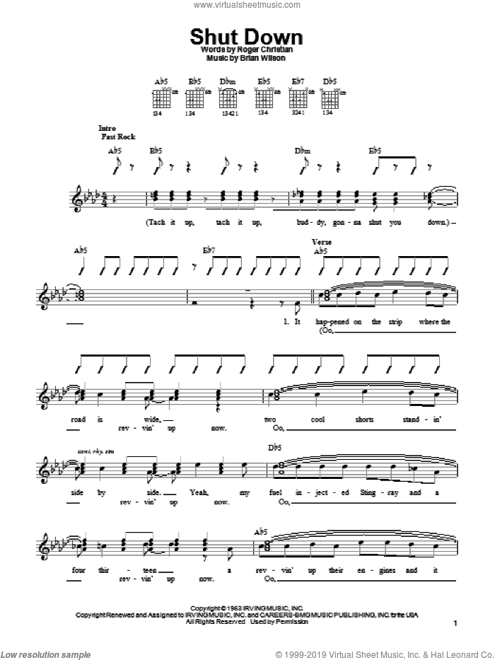 Shut Down sheet music for guitar solo (chords) by Roger Christian, The Beach Boys and Brian Wilson. Score Image Preview.