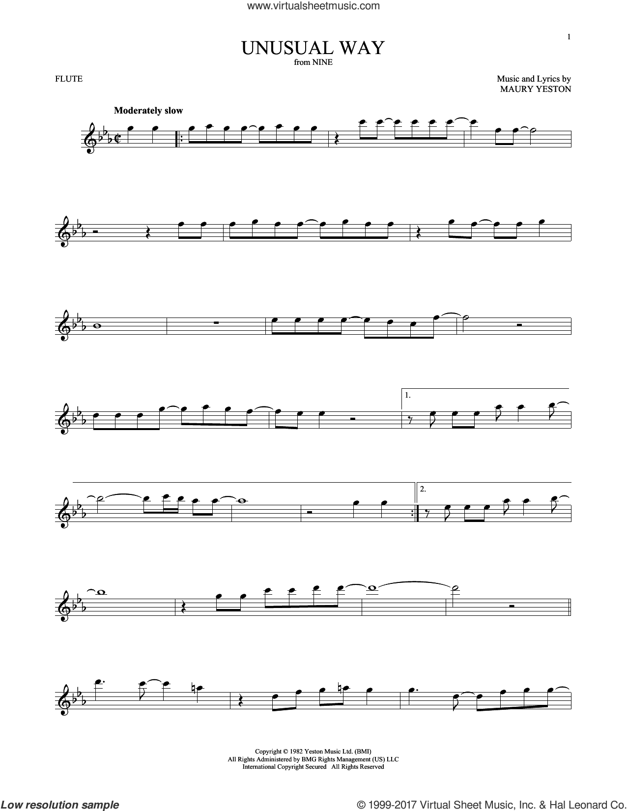 Unusual Way sheet music for flute solo by Maury Yeston and Linda Eder. Score Image Preview.