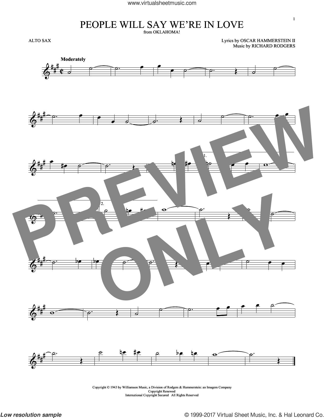 People Will Say We're In Love (from Oklahoma!) sheet music for alto saxophone solo by Rodgers & Hammerstein, Oscar II Hammerstein and Richard Rodgers, intermediate skill level