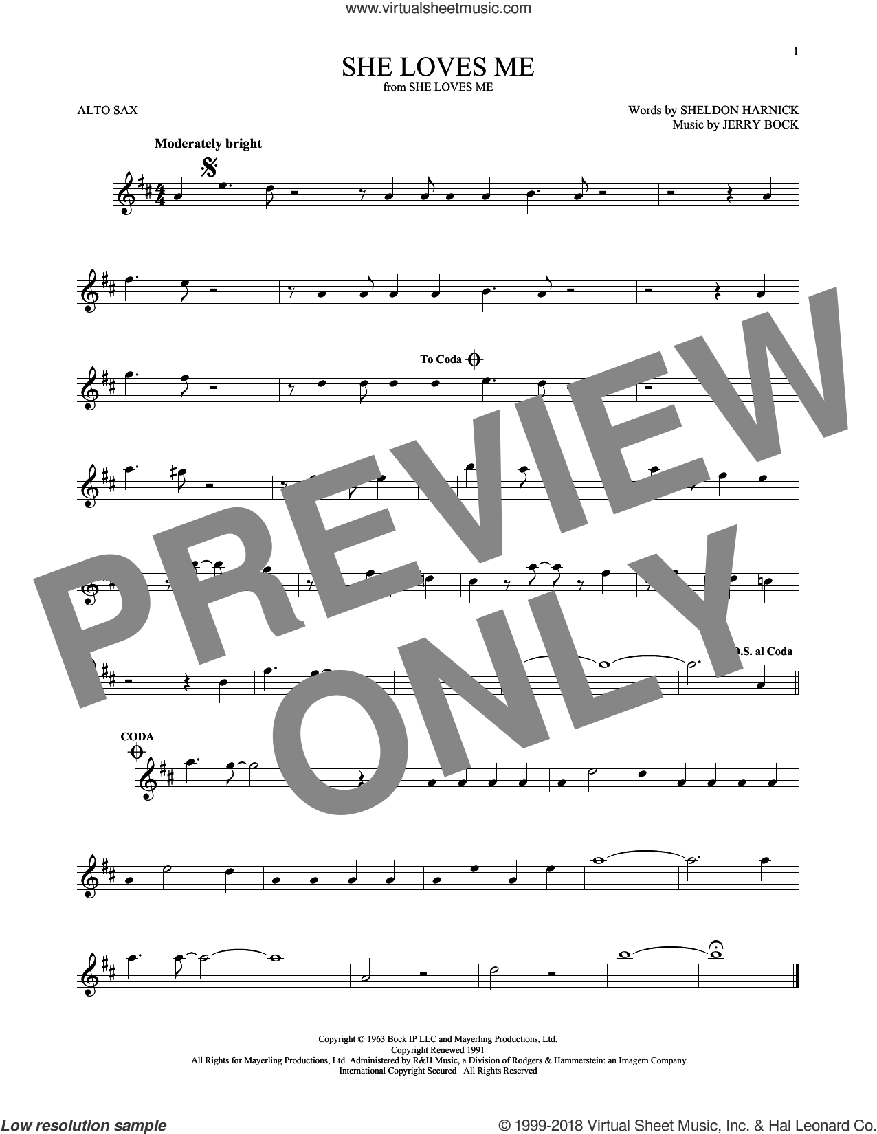 She Loves Me sheet music for alto saxophone solo by Jerry Bock and Sheldon Harnick, intermediate skill level