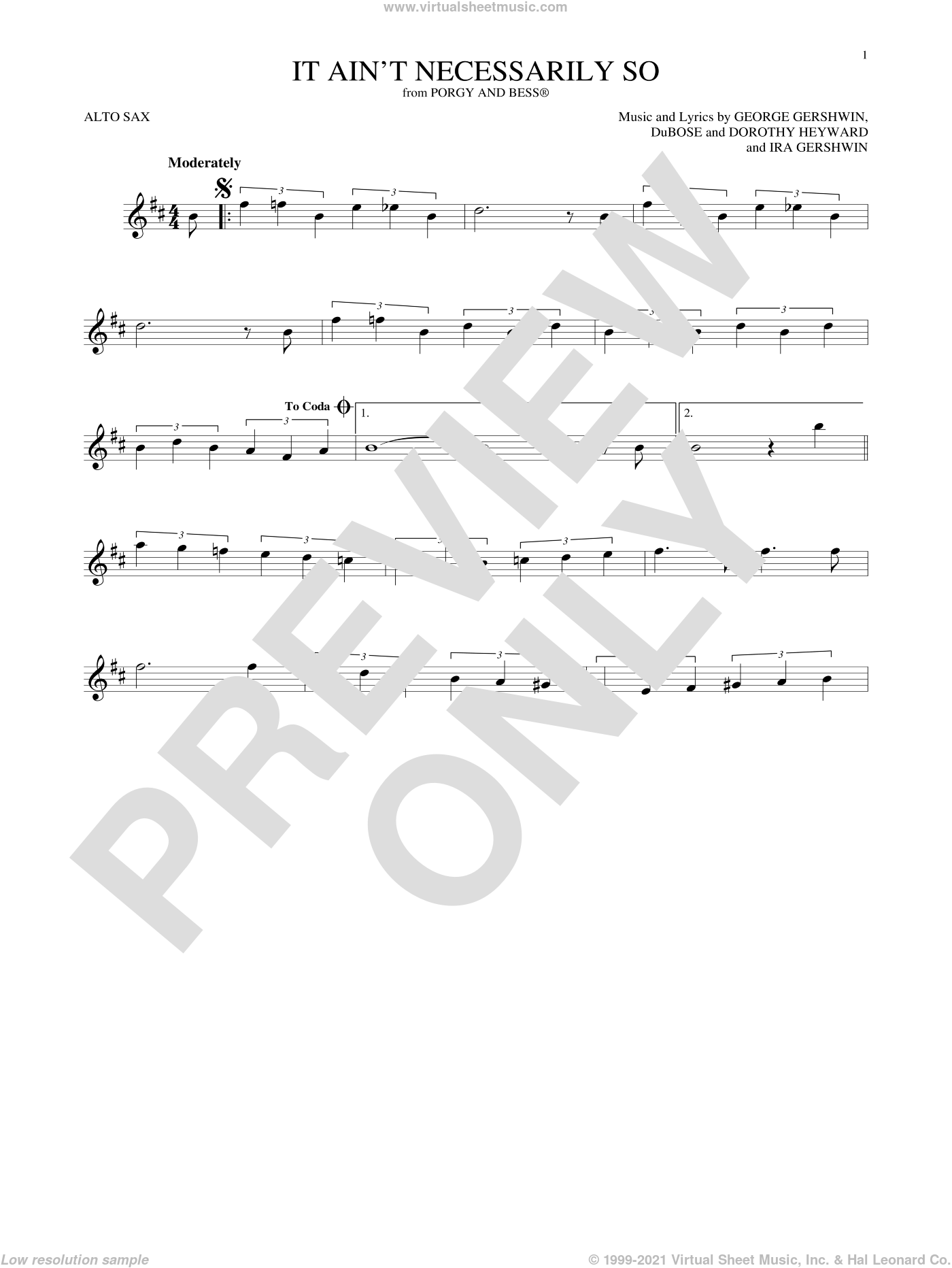 It Ain't Necessarily So sheet music for alto saxophone solo by George Gershwin, Dorothy Heyward, DuBose Heyward and Ira Gershwin, intermediate skill level