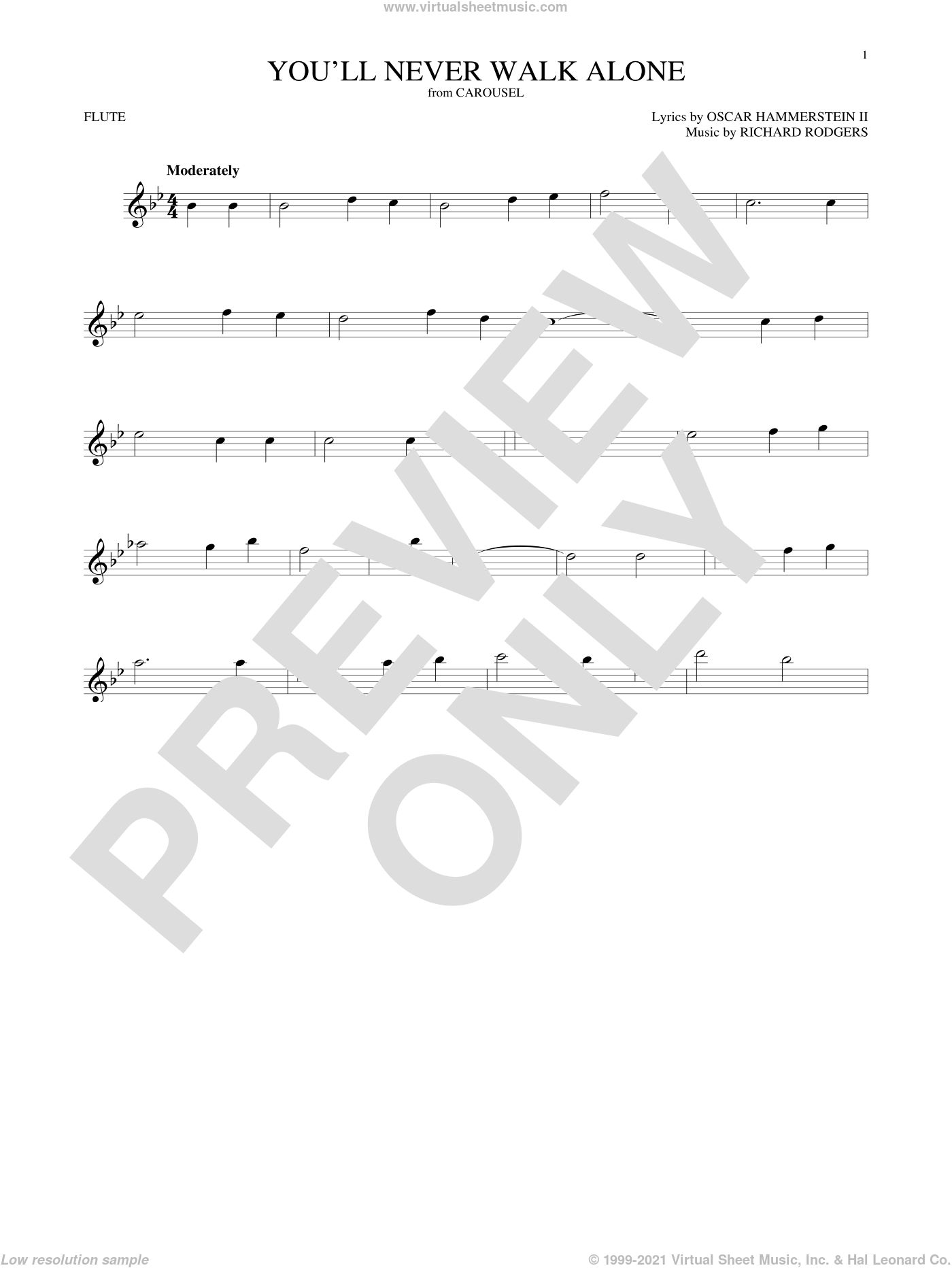 You'll Never Walk Alone sheet music for flute solo by Rodgers & Hammerstein, Oscar II Hammerstein and Richard Rodgers, intermediate skill level