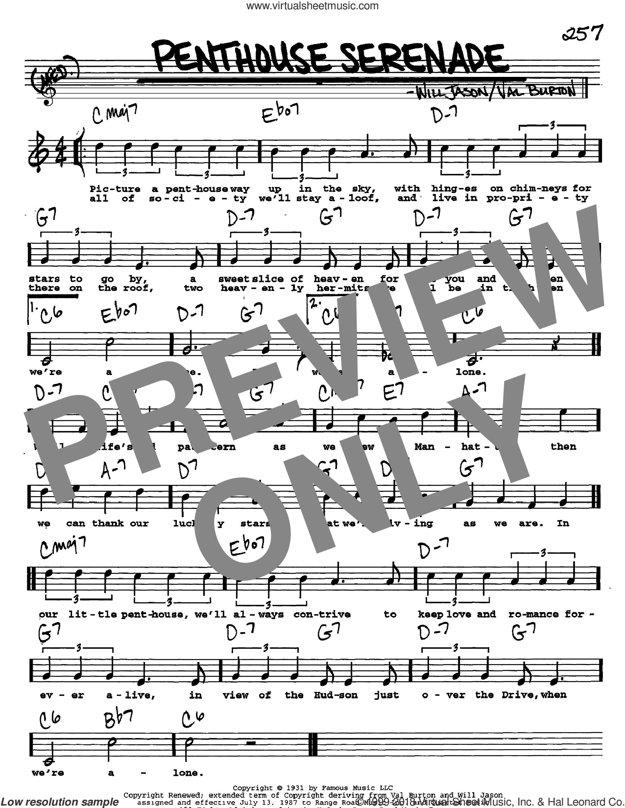 Penthouse Serenade sheet music for voice and other instruments  by Nat King Cole, Val Burton and Will Jason, intermediate skill level