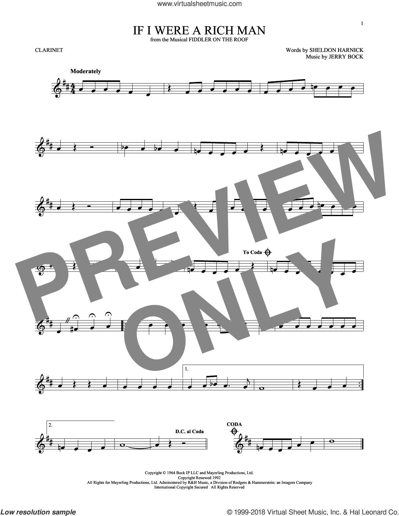 If I Were A Rich Man (from Fiddler On The Roof) sheet music for clarinet solo by Bock & Harnick, Jerry Bock and Sheldon Harnick, intermediate skill level