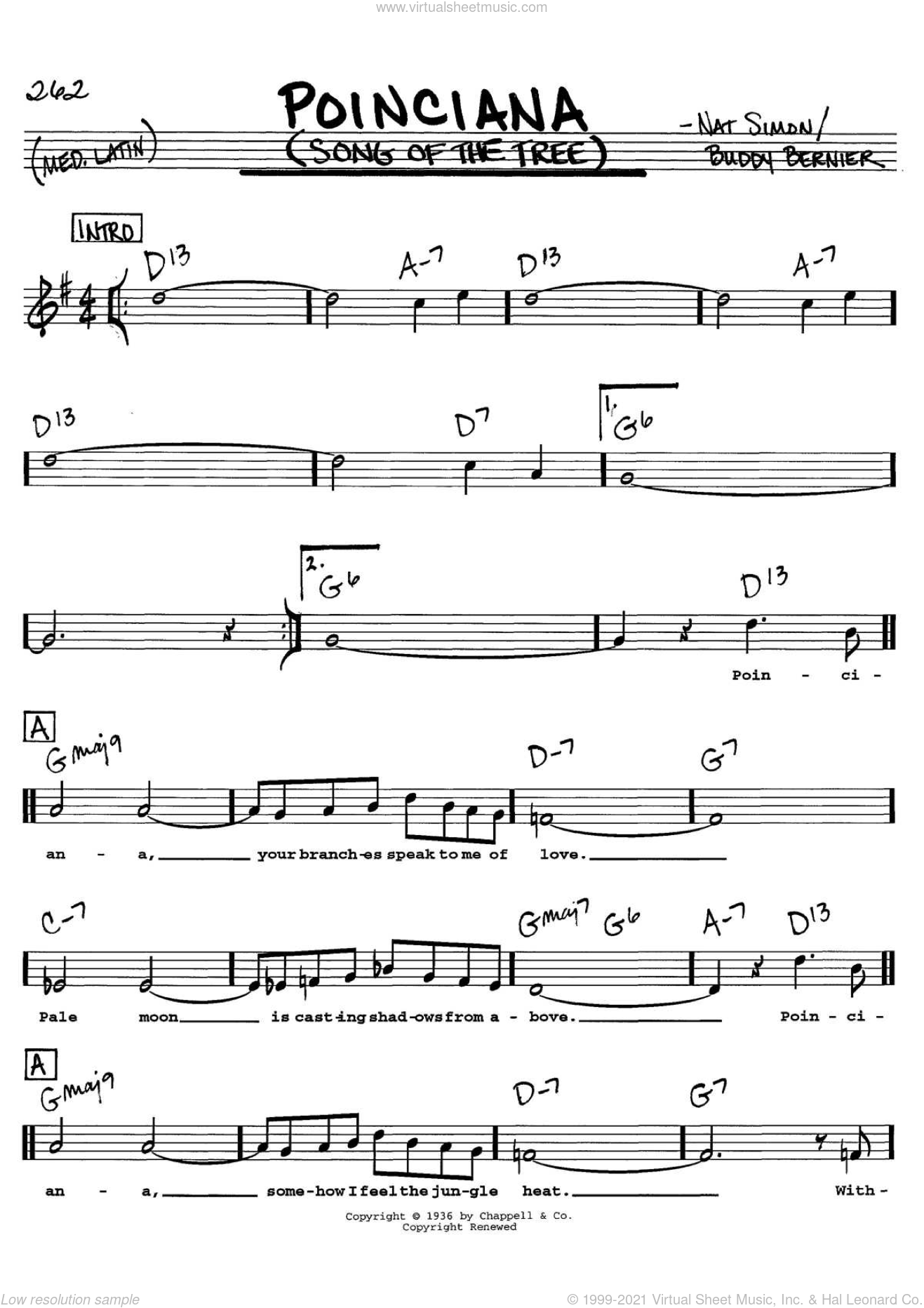 Poinciana (Song Of The Tree) sheet music for voice and other instruments  by Buddy Bernier and Nat Simon, intermediate skill level