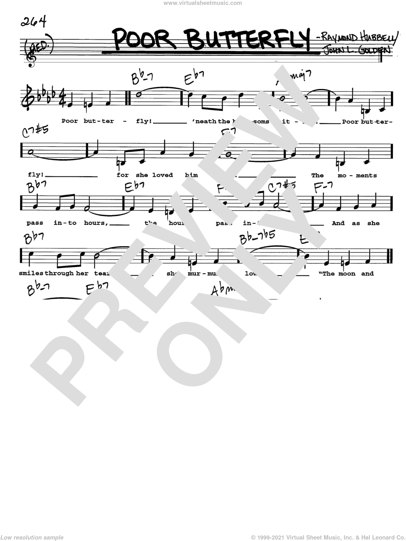 Poor Butterfly sheet music for voice and other instruments (Vocal Volume 2) by Raymond Hubbell and John L. Golden. Score Image Preview.