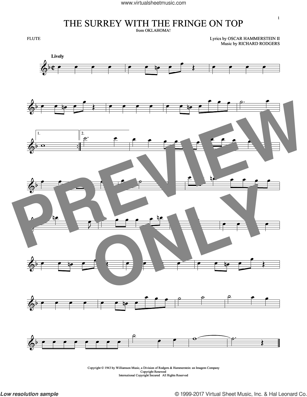 The Surrey With The Fringe On Top sheet music for flute solo by Rodgers & Hammerstein, Oscar II Hammerstein and Richard Rodgers, intermediate skill level