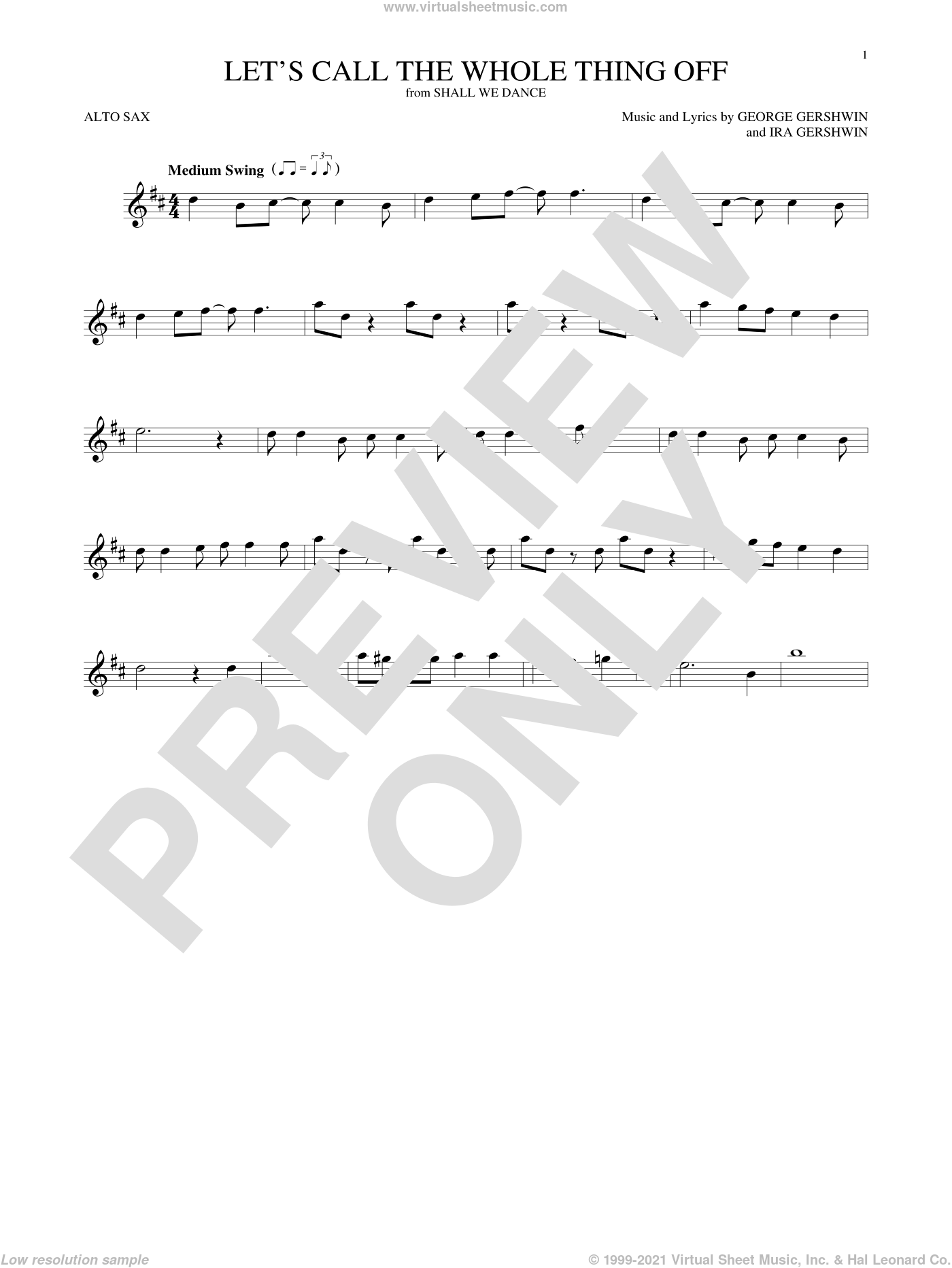 Let's Call The Whole Thing Off sheet music for alto saxophone solo by George Gershwin and Ira Gershwin, intermediate. Score Image Preview.