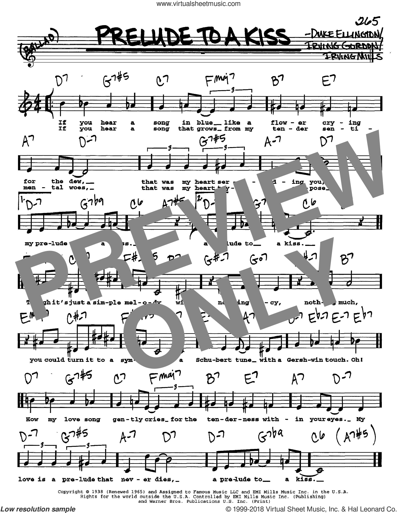 Prelude To A Kiss sheet music for voice and other instruments  by Duke Ellington, Irving Gordon and Irving Mills, intermediate skill level