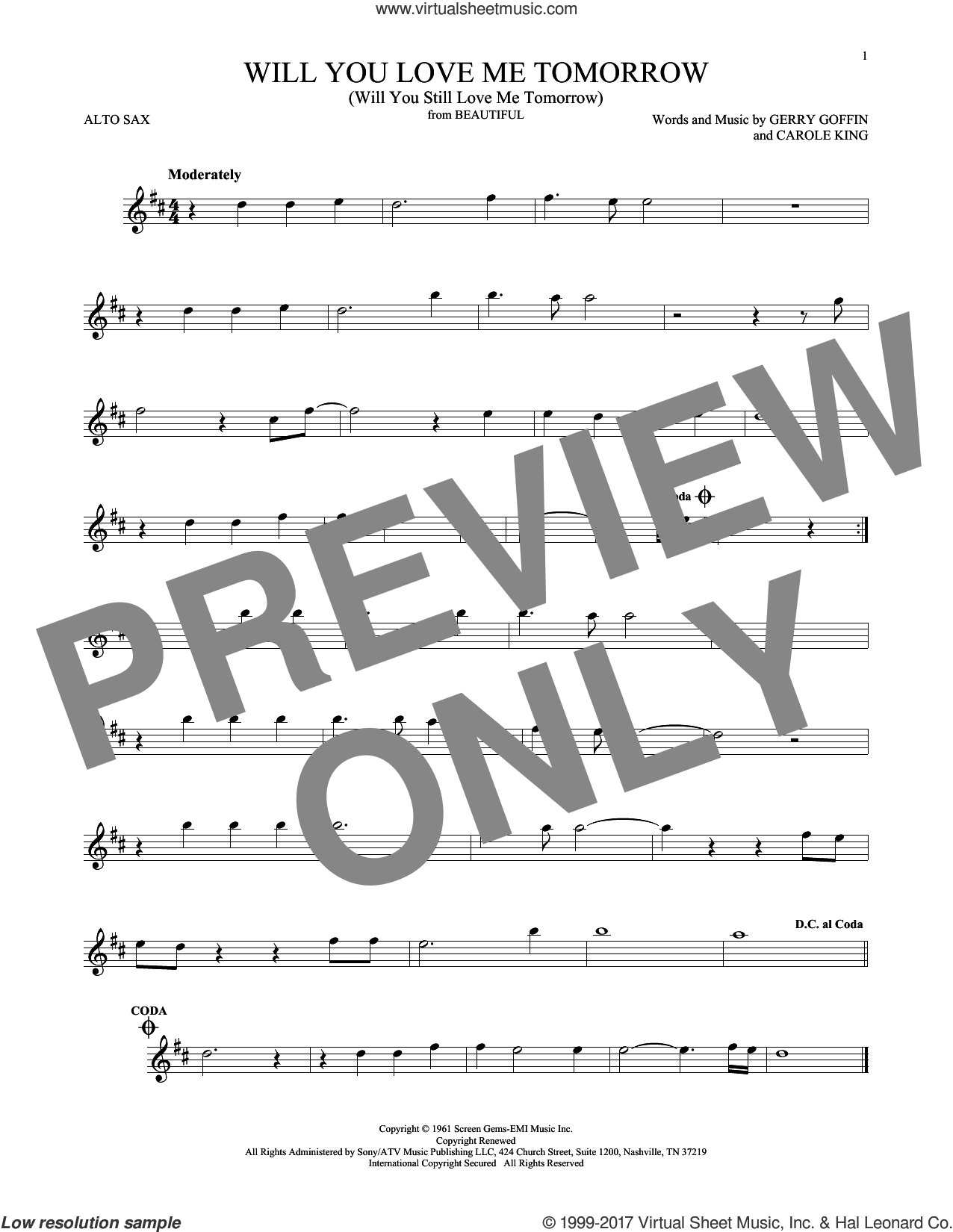 Will You Love Me Tomorrow (Will You Still Love Me Tomorrow) sheet music for alto saxophone solo by The Shirelles, Carole King and Gerry Goffin, intermediate skill level