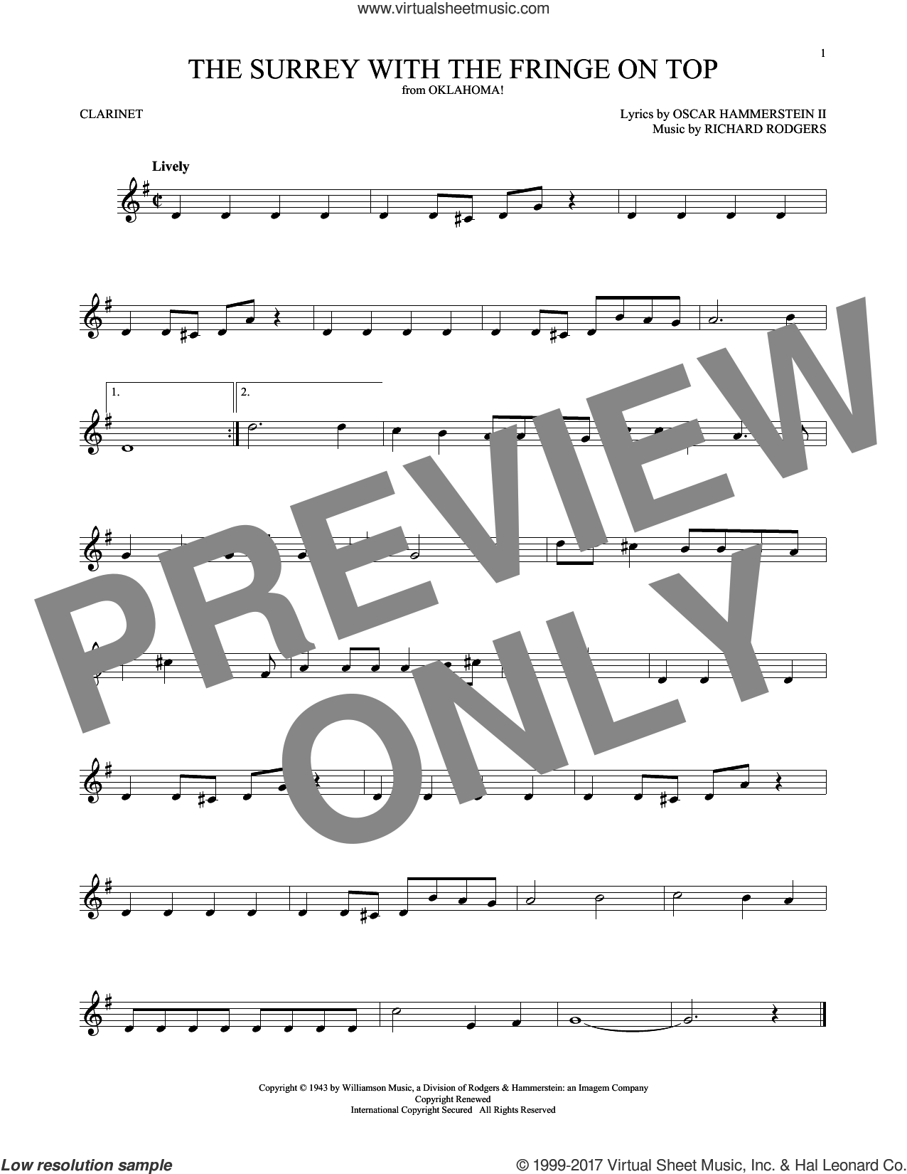 The Surrey With The Fringe On Top sheet music for clarinet solo by Rodgers & Hammerstein, Oscar II Hammerstein and Richard Rodgers, intermediate. Score Image Preview.