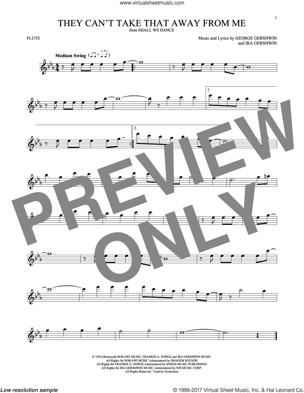 They Can't Take That Away From Me sheet music for flute solo by Frank Sinatra, George Gershwin and Ira Gershwin, intermediate skill level