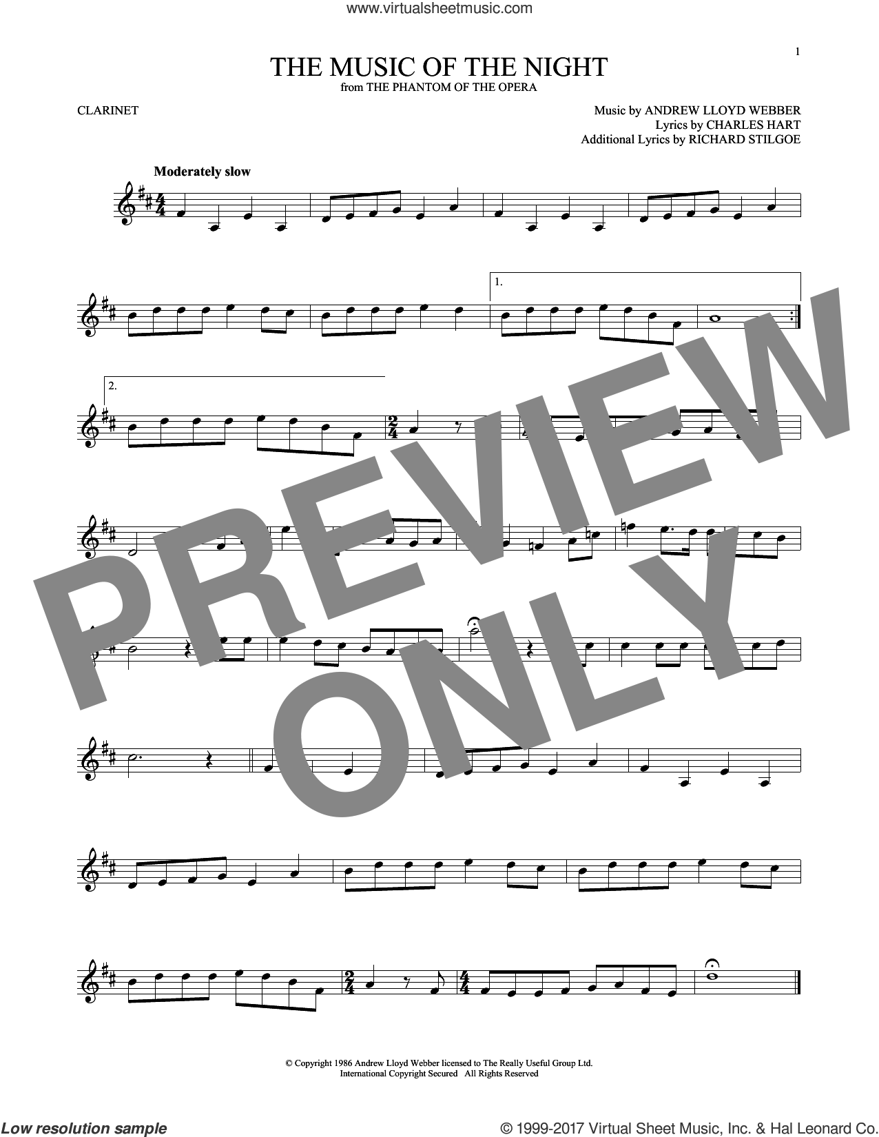 The Music Of The Night sheet music for clarinet solo by Andrew Lloyd Webber, David Cook, Charles Hart and Richard Stilgoe, intermediate skill level