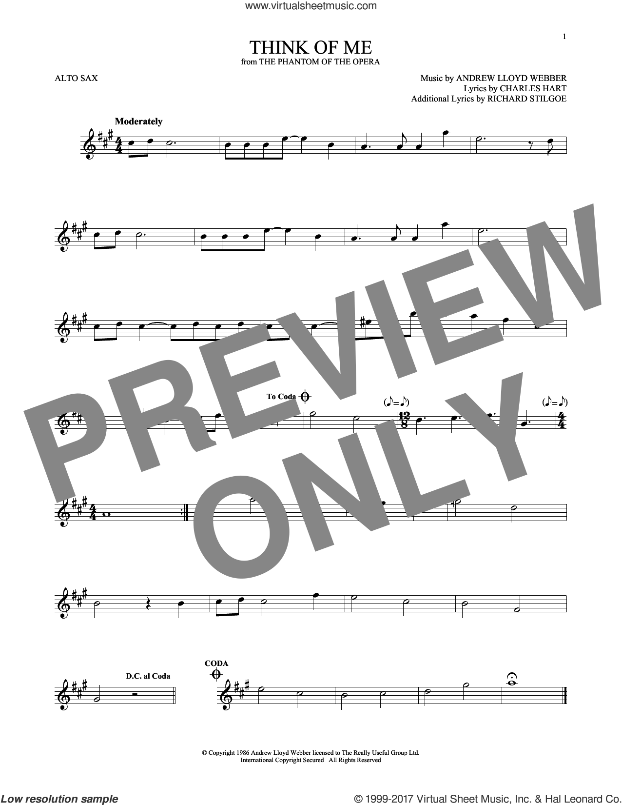 Think Of Me (from The Phantom Of The Opera) sheet music for alto saxophone solo by Andrew Lloyd Webber, Charles Hart and Richard Stilgoe, intermediate skill level