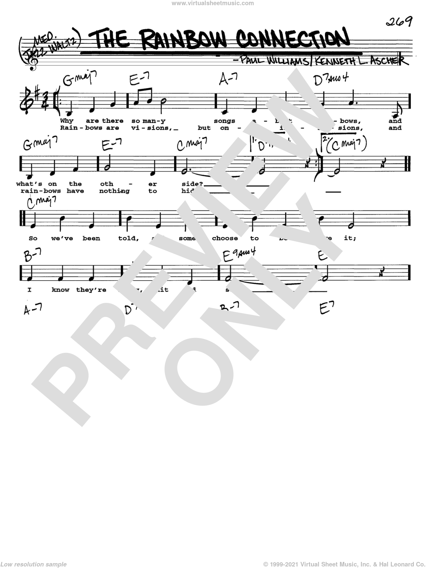 The Rainbow Connection sheet music for voice and other instruments (Vocal Volume 2) by Paul Williams, intermediate voice. Score Image Preview.