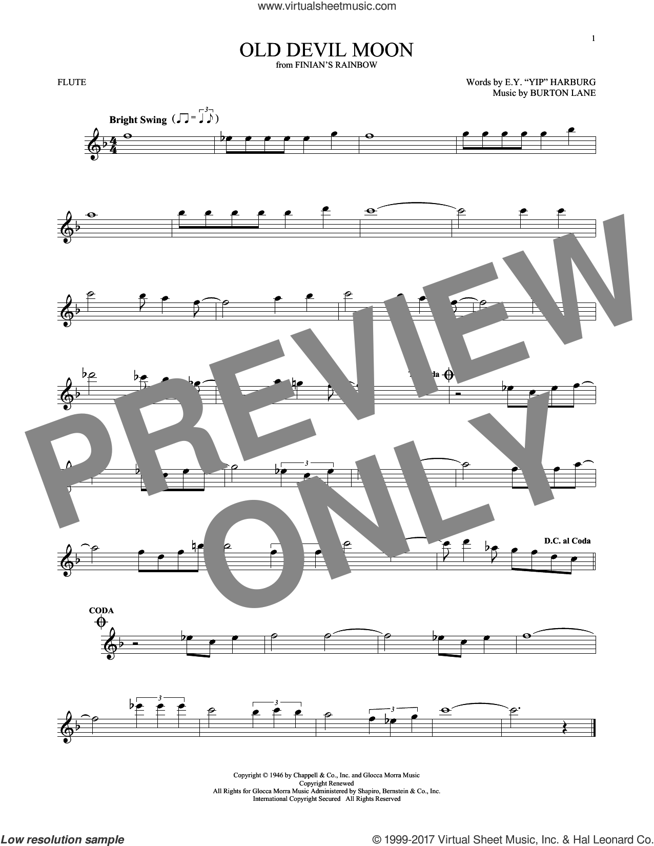 Old Devil Moon sheet music for flute solo by E.Y. Harburg and Burton Lane, intermediate skill level