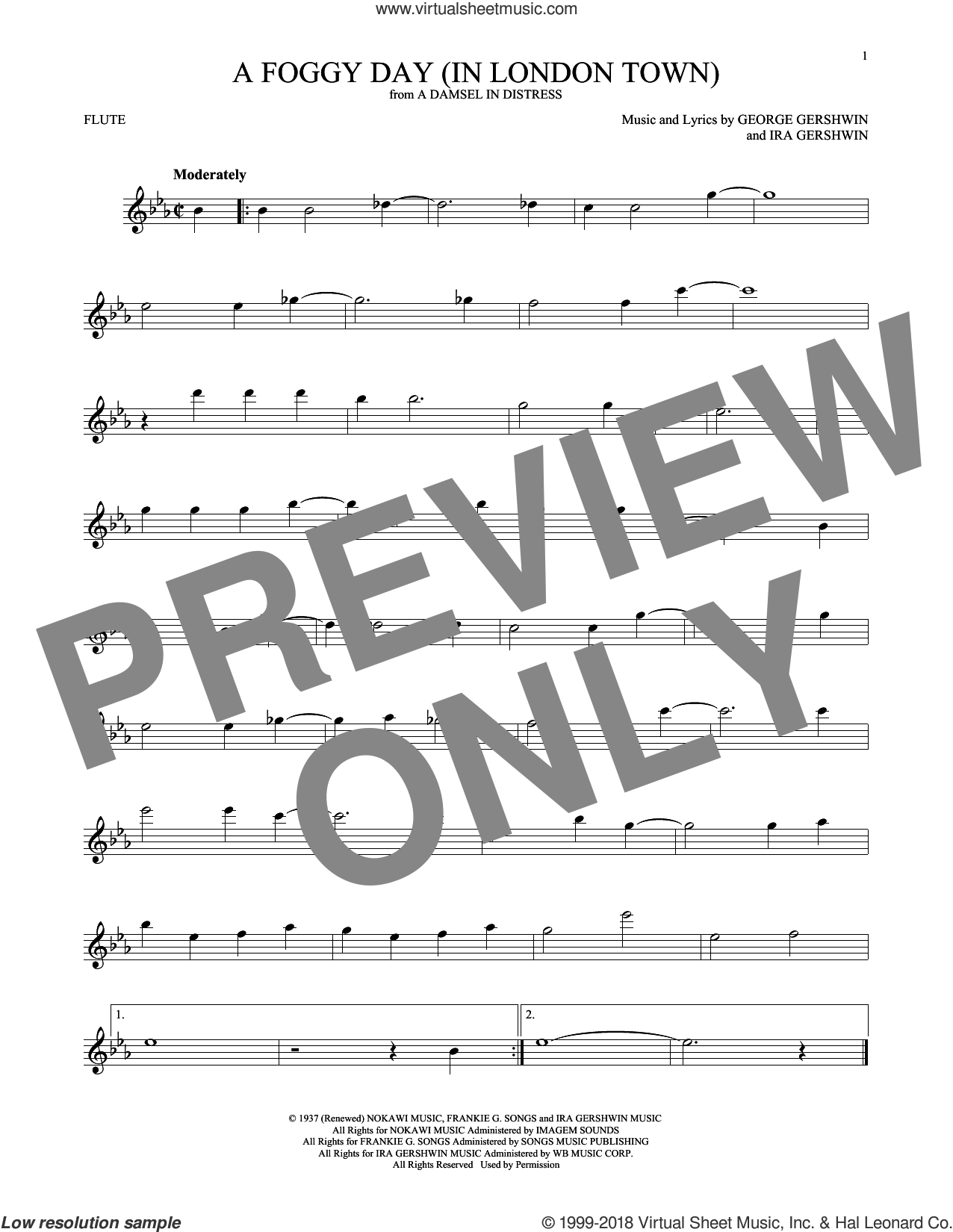 A Foggy Day (In London Town) sheet music for flute solo by George Gershwin and Ira Gershwin, intermediate skill level
